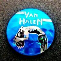Van Halen Silver Blue Pin Badge 1980's