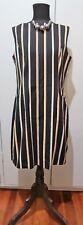 *Size 12 Caroll Black Striped Cotton Blend Women's Dress- 52cm Bust