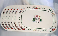 Pfaltzgraff Snow Village Place Mats Set 6 Vinyl Christmas Snowmen Snow Holidays