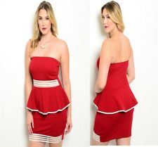 D93 New Womens Size 18/20 Red Strapless Bodycon Stretch Wedding Party Dress Plus