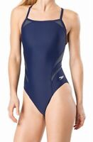 Speedo Womens Swimwear Blue Size 30 Tone Setter Splice Flyback Swimsuit $74- 533