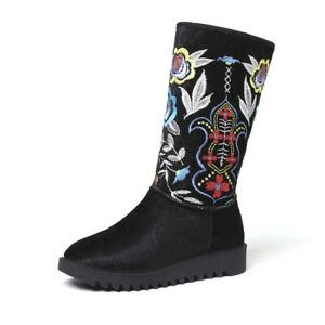 Womens Fashion Floral Embroidered Ethnic Velvet Mid Calf Snow Boots Shoes BKIE