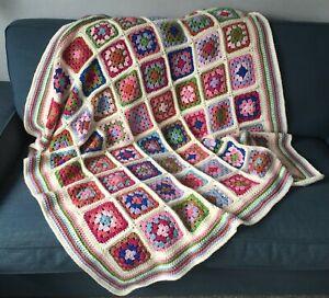 Handmade Traditional Crochet Granny Square Blanket Throw