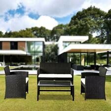 New 4PC Outdoor Patio PE Rattan Wicker Table Set Sofa Furniture w/ Cushion Black