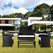New 4PC Outdoor Patio PE Rattan Wicker Table Set Sofa Furniture w/ Cushion Black