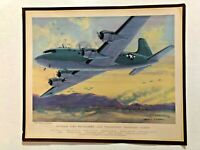1945 WWII Charles Hubbell Aviation Print - Douglas C-54 Skymaster Cargo