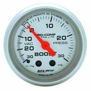 "AutoMeter 4303 Gauge, Vac/Boost, 2 1/16"", 30inHg-30psi, Mechanical, Ultra-Lite"