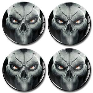 4 x Silicone 3D Domed Stickers Skull Eyes For Wheel Centre Rim Center Hub Caps