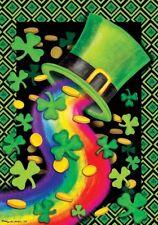 New listing St. Patrick's Day Rainbow Hat Shamrocks Gold Coins Large House Flag