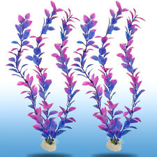 2 x Wonder Grass Plastic Aquarium Plants Purple Ornament Home Fish Tank Decors
