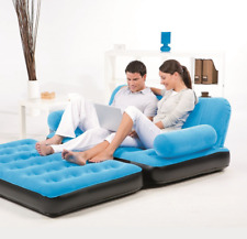 Inflatable Pull Out Sofa Bed Couch Air Mattress Blow Up Futon AC Air Pump Blue