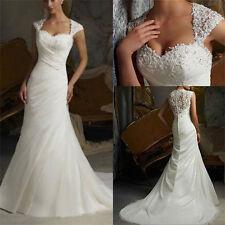 Mermaid White/ivory Organza Wedding dress Bridal Gown size 6-8-10-12-14-16++