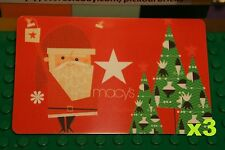 Macys Red 2013 CHRISTMAS SANTA CLAUS GIFT CARD x3 Collectible Card No Value