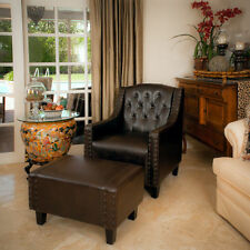 Coogee Brown Leather ArmChair & Footstool Set  Lounge Arm Tub Chair Sofa