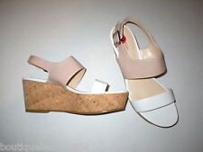 New Womens 10 Calvin Klein Wedge Sandals Platform Shoes White Beige Patent Leath