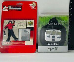 Tiger Woods Magnetic Photo Frame & Brookstone Electronic Golf Scorecard ~ Set #2