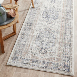 Raleigh Traditional Design Blue Peach Modern Rug Runner - 3 Sizes *FREE DELIVERY