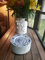 "Set Of 4 Enoch Wedgwood BLUE HERITAGE Salad Plates 7"" Blue Onion 3 Sets Availabl"