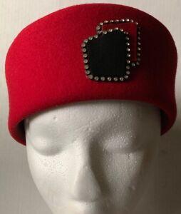 STEWARDESS PILLBOX WOOL FELT HAT, RED with BLACK, RHINESTONES, USA, VINTAGE