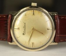 Vintage Lucien Piccard 10K Yellow Gold Filled LP49 AXU 17j Swiss Watch Leather