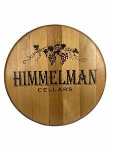 "Wine Barrel Head Sign Oak Wood Himmelman Cellars 21"" Grapes Vineyard Decor"
