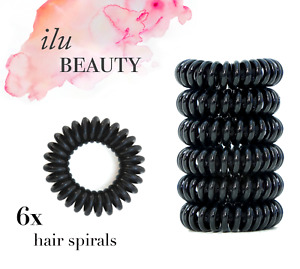6 Spiral Hair Bands Girls Ponytail Stretchy Elastic Bobbles Ties Tangle Free