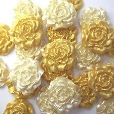 12 piccole Oro Crema Perle di Zucchero Rose Commestibile Pasta di Zucchero GOLDEN WEDDING CAKE DECS