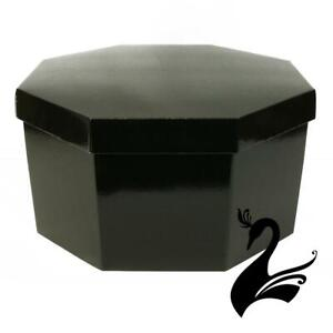 Hat Box Octagonal - Gloss Finish - Black Body/Black Lid (Large 50x22cm) - Mil...