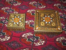 Syrian set 2 boxes INLAID WOOD MOSAIC JEWELRY BOX MOTHER OF PEARL