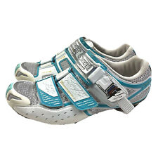 Shimano Road Cycling Shoes Womens US 6.5 EUR 38 White Blue 3 Bolt SH-WR80 New