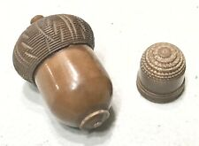 Antique Vintage Brown Bakelite Sewing Thimble Holder Acorn W/Thimble Old