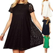 Women  Summer Short Sleeve Lace Hollow Out Casual Tops A-line Skirt Dress S-5XL