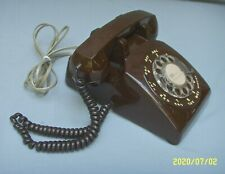 VINTAGE ITT ROTARY DIAL TELEPHONE PHONE CHOCOLATE BROWN TESTED WORKING