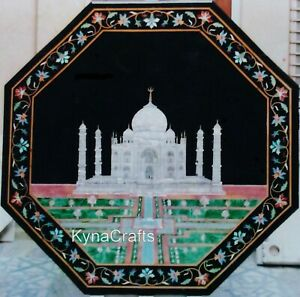 Black Marble Taj Mahal Replica Dining Table Top  Pietra Dura Art Patio Table 48""
