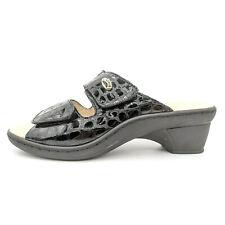Spring Step Palazzo Black Patent Leather Croc Print Slide Sandals Women 8.5 / 39
