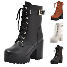WOMENS ANKLE BOOTS COMBAT ARMY MILITARY LACE UP BIKER HIGH HEEL LADIES BOOTIES