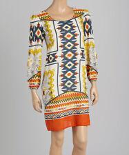 Swing Dress Size UK 4 Ladies Womens 100 Cotton Orange Geometric #b-706