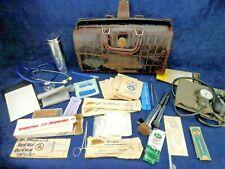 Vintage UPJOHN Moc Croc Genuine Cowhide Doctors Medical Bag W/ Key and Supplies