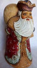 """RUSSIAN WOODEN SANTA W/BAG HAND CARVED/PAINTED ANGELS  SIGNED SERGIYEV PASAD 12"""""""