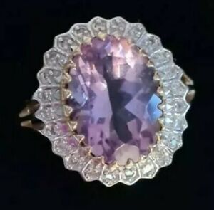 Huge 7ct 9ct gold Amethyst and genuine diamonds ring