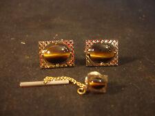 Gold Tone Decorative Brown Gem Stone Pair Of Cufflinks With Tie Clasp Jewelry