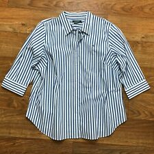 NWT Lauren Ralph Lauren Blue White Striped Button Down Shirt Womens Plus Size 3X
