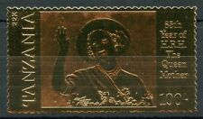 TANZANIA  85th BIRTH ANNIVERSARY OF THE QUEEN MOTHER IV  22K GOLD FOIL STAMP