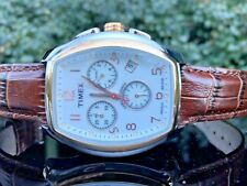 Timex 38mm Men's STYLE T2M985 Brown Leather Quartz Watch with White Dial