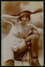 French nude woman Fancy fashion hat original 1910s Citrate toning photo postcard