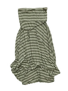 Motherhood Maternity Long Maxi Tube Dress Olive White Striped High Low Large
