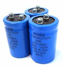 SPRAGUE POWERLYTIC 36D CAPACITOR, 6000-50DC EP50-602 +85⁰C, LOT OF 3, AS IS!