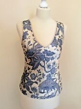 MARCCAIN CREAM & BLUE FLORAL PRINT SILK & CASHMERE BLEND TOP SIZE N2 UK 10