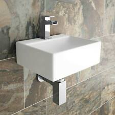 Small Cloakroom Basin Modern Square Ceramic Wall Mounted Mounted Bathroom Sink