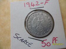 German 50 Reichspfennig 1942-F Third Reich Aluminium Coin WW2 pf
